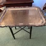 J439 Silver-plate Tray on Black Stand