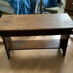 Antique arts and crafts tiger oak bench