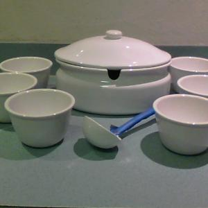 """Photo of NEW """"PORTUGAL SECLA"""" WHITE SOUP TUREEN with SIX SOUP BOWLS NEW ONLY $65"""