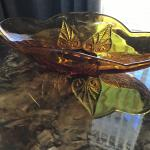Mid century hobnail amber glass dish oblong