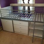 White Loft Twin Bed with Dresser/Desk and Storage