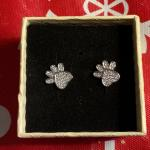 Silver heart paw post earings