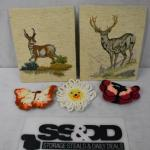 5pc Vintage Crafting Pieces, Crocheted Flower/Butterflies, Cross Stitch Wildlife
