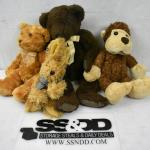 4 pc Stuffed Animal Toys: 2 Bears, 1 Bunny, 1 Monkey