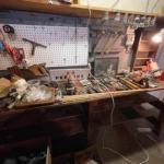 Lot 164. Huge lot of hardware, hand tools, nuts and bolts, old wooden boxes, vin