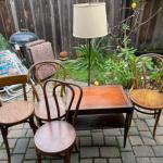 Lot 161. Floor lamp, vintage leather top mahogany table and 4 chairs--$65