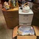 Lot 174. Vintage toaster, broiler, plastic file cabinet, nightstand, blender--$4