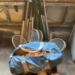 Lot 172. Sports equipment, net hammock, table tennis rackets, dumbbells, wood an