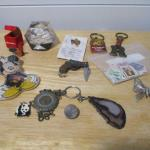 Lot 216 - Acrylic 1977 Penny Paper Weight & Key Chains