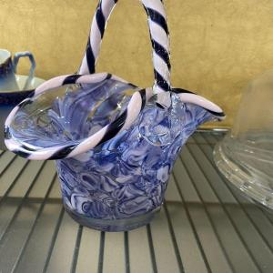 Photo of Murano Blue Marbled Basket with Striped Edge and Handle