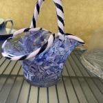 Murano Blue Marbled Basket with Striped Edge and Handle