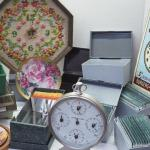 Lot 46 day timer boxes and Vintage table and wall clocks