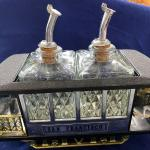 Trolley Music Box Train With Two Liquor Bottles
