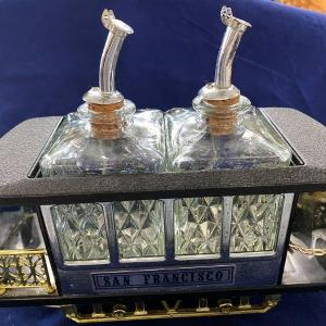 Photo of Trolley Music Box Train With Two Liquor Bottles