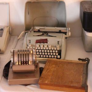Photo of Lot 67 Vintage Hermes 3000 Typewriter, Paymaster Adding Machine & More