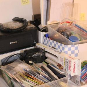 Photo of Lot 68 HUGE lot of Office Supplies, Greeting Cards + 2 printers