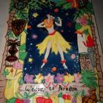 Welcome to Paradise Tile Wall Hanging, Tropical Beach, Hula Dancer