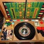 AMAZING Mid Century Game Suitcase - Roulette Wheel, Checkers, Chess, Horse Racin
