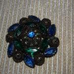 Blues & Green Round Swirl Leaves Brooch MCM