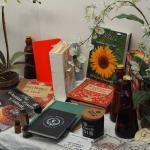 Lot 62,  Vintage Kitchen Cookbooks, Silk flowers,