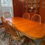 Amish-made Solid Wood Dining 2-Piece China Hutch, Oval Table with 6 Chairs and 4