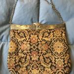 Vintage Cloth Handbag with Metal Chain and  Top 11 x 9