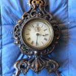 "Vintage Metal Mantle Clock with Bronze Finish 13"""