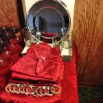 LOT 502   RED AND SILVER DINING ITEMS