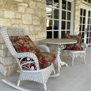 Photo of Wicker Rocker, Side Chair, Marble Top Bistro Table