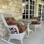 Wicker Rocker, Side Chair, Marble Top Bistro Table