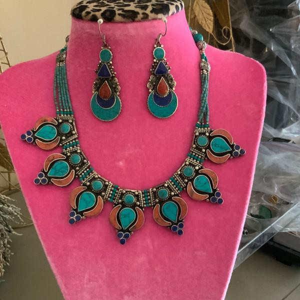 Photo of Necklace /earring set     silver turquoise,lapis,coral