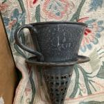 Rare granite enamel ware sieve - funnel - strainer