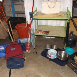 Photo of LOT 533  GREEN METAL CART AND MORE