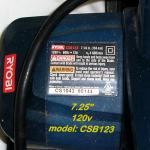 RYOBI Circular Saw (corded) model CSB123