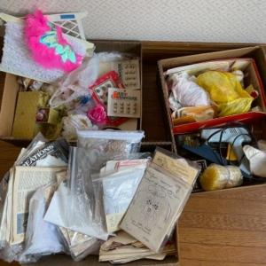 Photo of Lot 131. Large lot of crafting supplies, glue gun and sticks, spools of lace, be