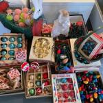Lot 152. Large lot of vintage Christmas ornaments and lights; Easter décor--$40