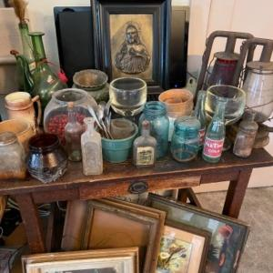 Photo of Lot 141. Vintage jars, framed art, two railroad lanterns, religious art, several
