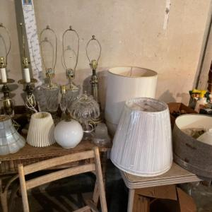 Photo of Lot 169. Large lot of crystal lamps, shades (new and used), midcentury ceiling l