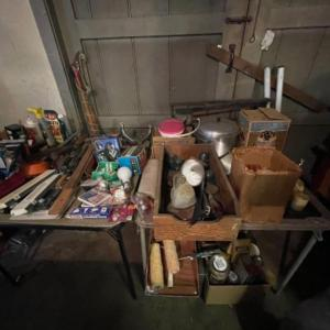 Photo of Lot 168. Large lot of hardware, cookware, vintage paper roll, BBQ utensils, plum