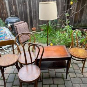 Photo of Lot 161. Floor lamp, vintage leather top mahogany table and 4 chairs--$35