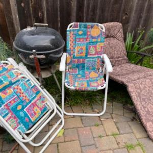 Photo of Lot 160. Weber BBQ, 4 folding chairs and one lounge chair--$20