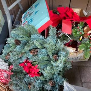 Photo of Lot 156. Huge assortment of Christmas décor, two trees, baskets, crafting suppl