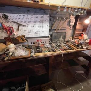Photo of Lot 164. Huge lot of hardware, hand tools, nuts and bolts, old wooden boxes, vin