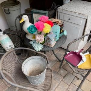 Photo of Lot 158. Vintage garden accessories and cleaning equipment, cupboard, sprinkler,