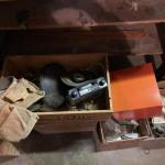Lot 166. Large lot of hardware, car stereo and speakers, leather tool belt, anti