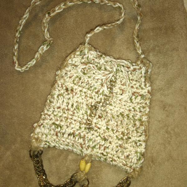 Photo of Crocheted cotton Bohemian small drawstring bag