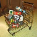Lot 198 - Metal Shopping Basket w/Groceries