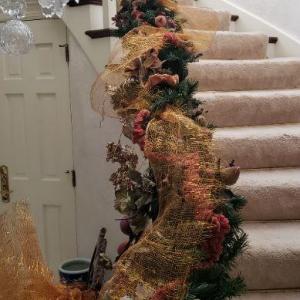 Photo of Xmas Garland on Stair Rail