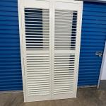 A - Pair of Painted Wood Shutters