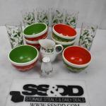 14 pc Holiday Dinnerware: 6 Bowls, 6 glasses, Creamer, Salt Shaker